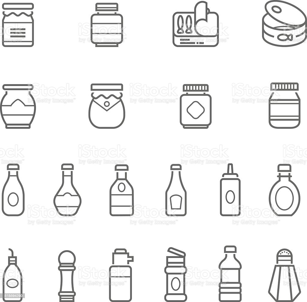 Lines icon set - ketchup vector art illustration