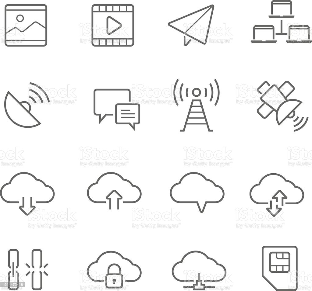 Lines icon set - network communication vector art illustration