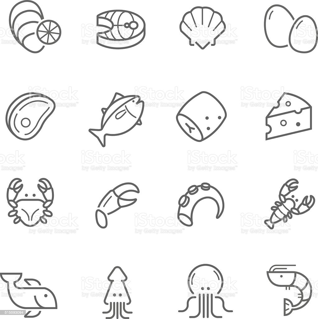 Lines icon set - raw food material vector art illustration