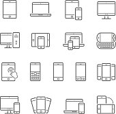 Lines icon set - responsive devices