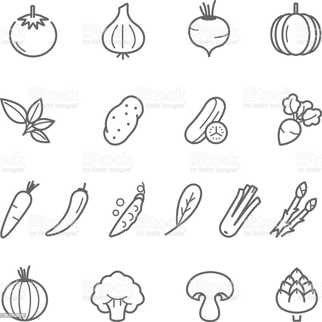 Lines icon set - vegetable vector art illustration