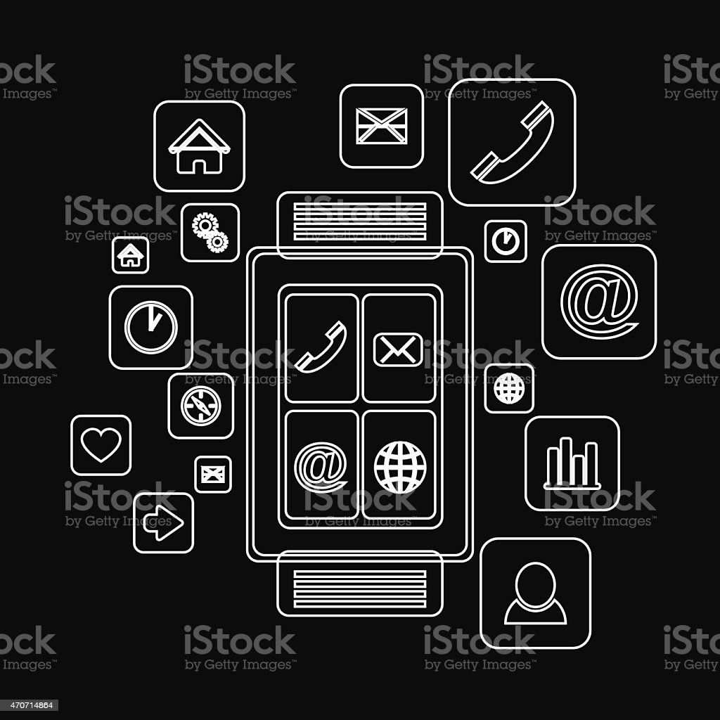 lines structure of smart watch with icons vector art illustration