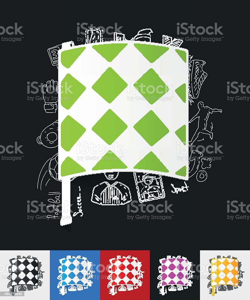 linesman flag paper sticker with hand drawn elements vector art illustration