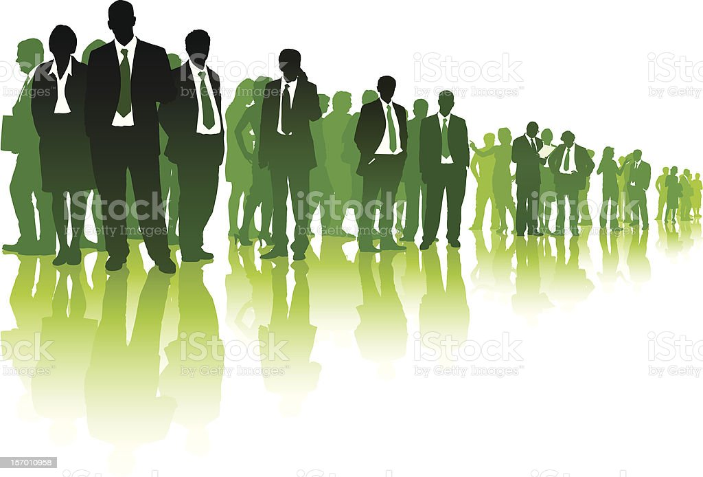 Lineup of many candidates in business attire in green tints  vector art illustration
