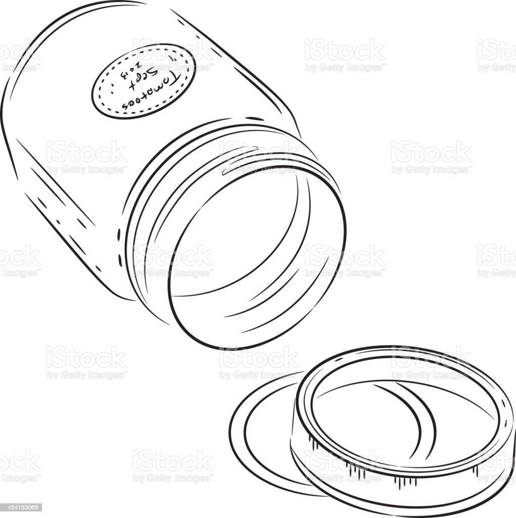 Linework Canning Jar - Side vector art illustration