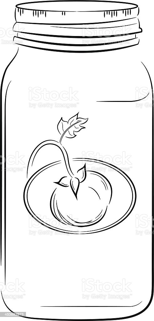 Linework Canning Jar royalty-free stock vector art