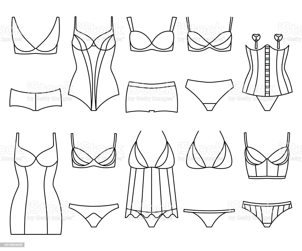 Lingerie icon set. Woman underwear isolated on the white vector art illustration