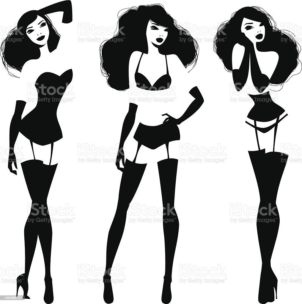 Lingerie Models vector art illustration