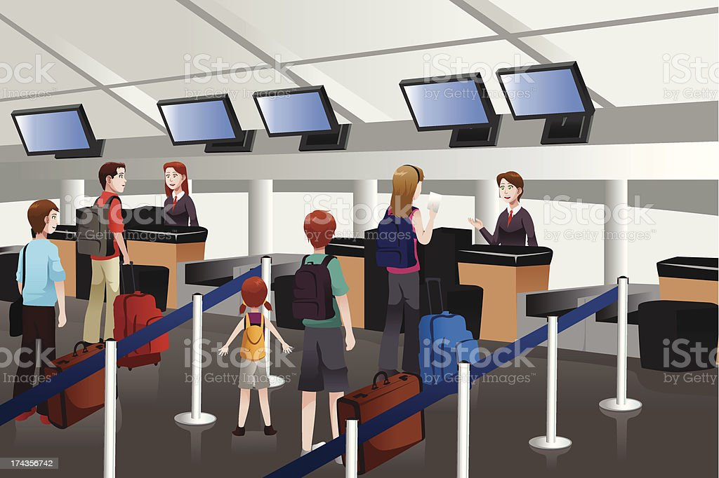 Lining up at check-in counter in the airport vector art illustration