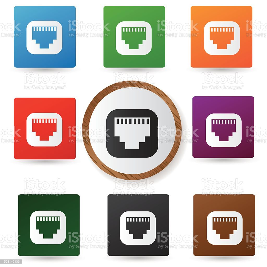 Link icons on colorful buttons,vector vector art illustration