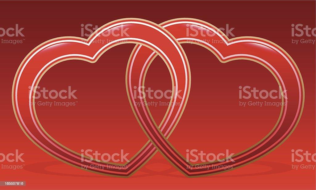 Linked Love Hearts royalty-free stock vector art