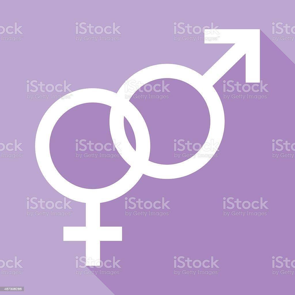 Linked Male And Female Symbols vector art illustration