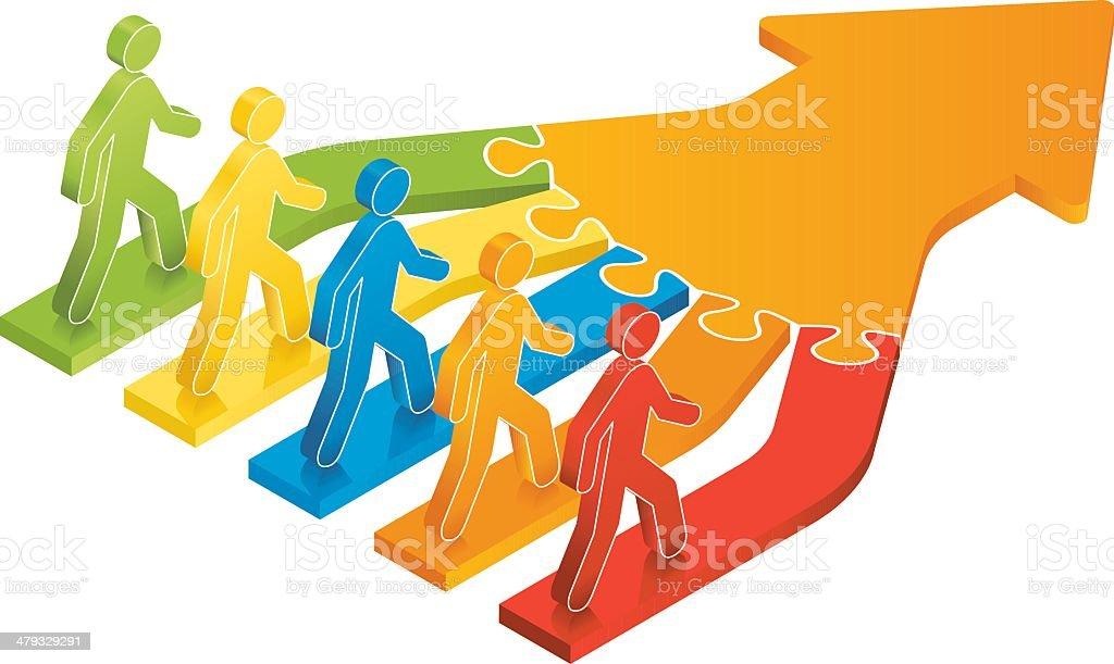 Linking Together in the Same Direction royalty-free stock vector art