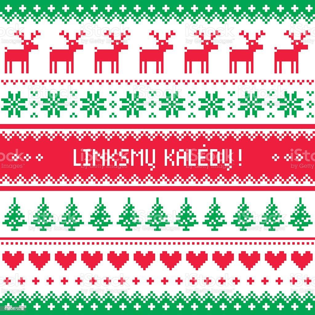 Linksmu Kaledu - Merry Christmas greetings card in Lithuanian vector art illustration