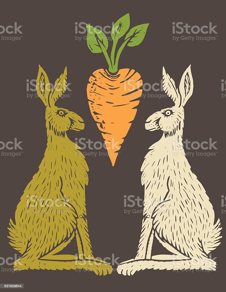 Linoblock Print Of Carrots Rabbits & Carrot vector art illustration