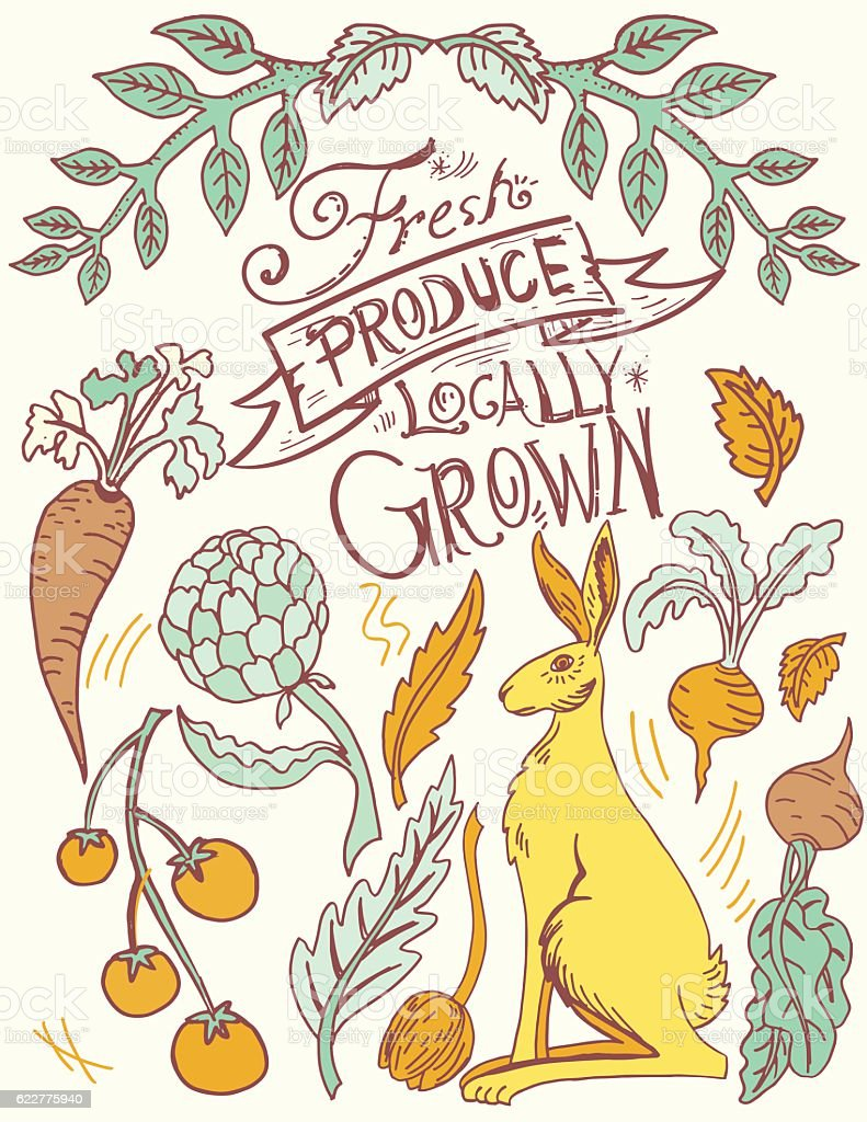 Linoblock Print Of Rabbit And Vegetables vector art illustration