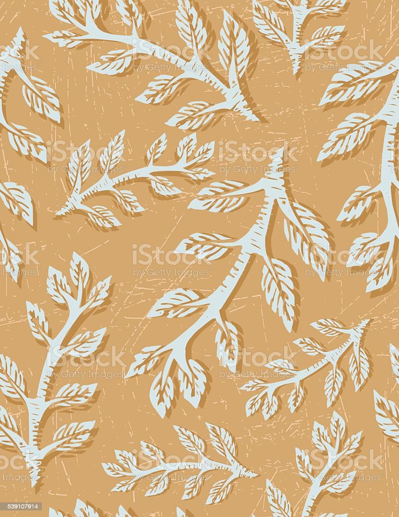 Linocut Block Print Branches Seamless Pattern vector art illustration