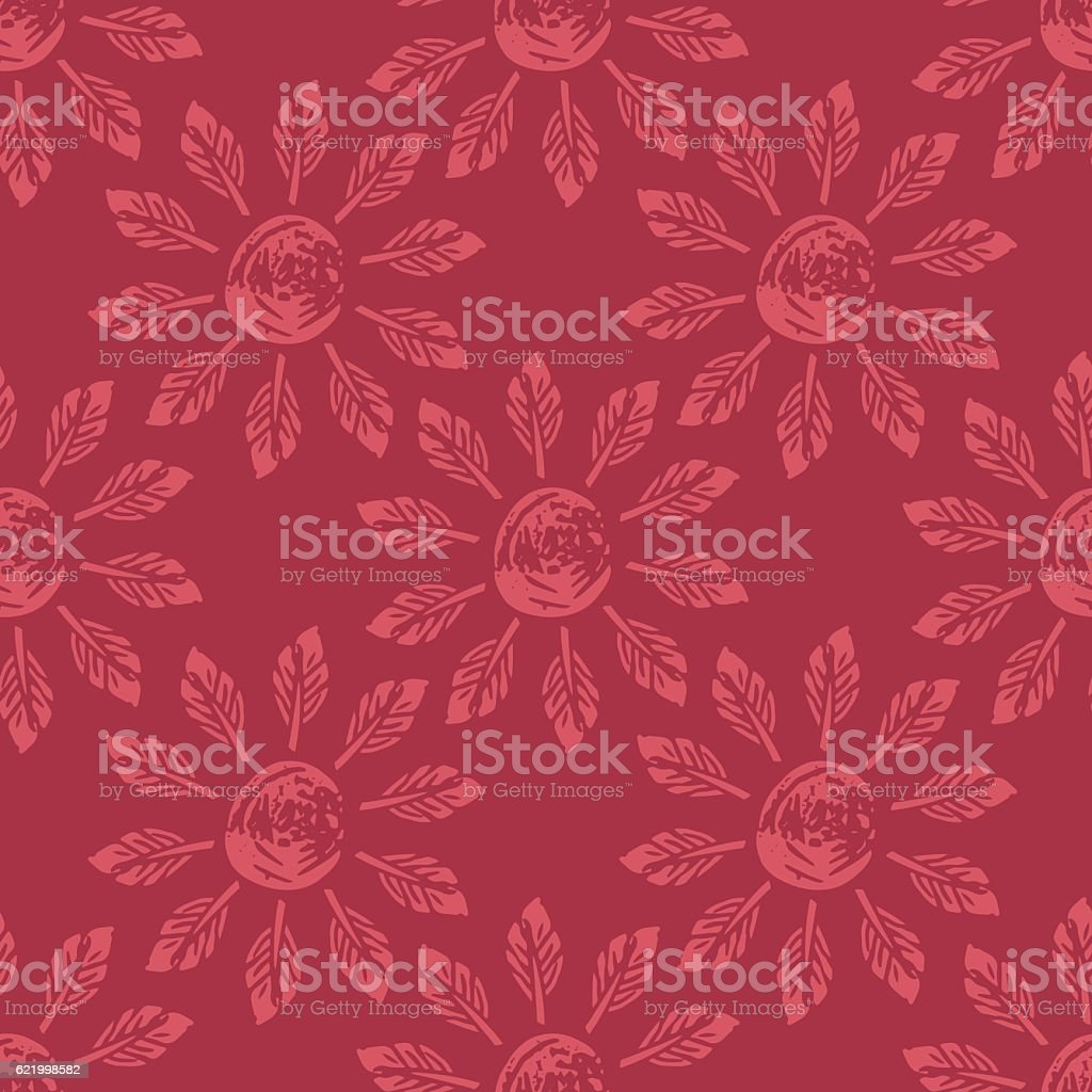 Linocut Block Print Repeating Textile Pattern vector art illustration
