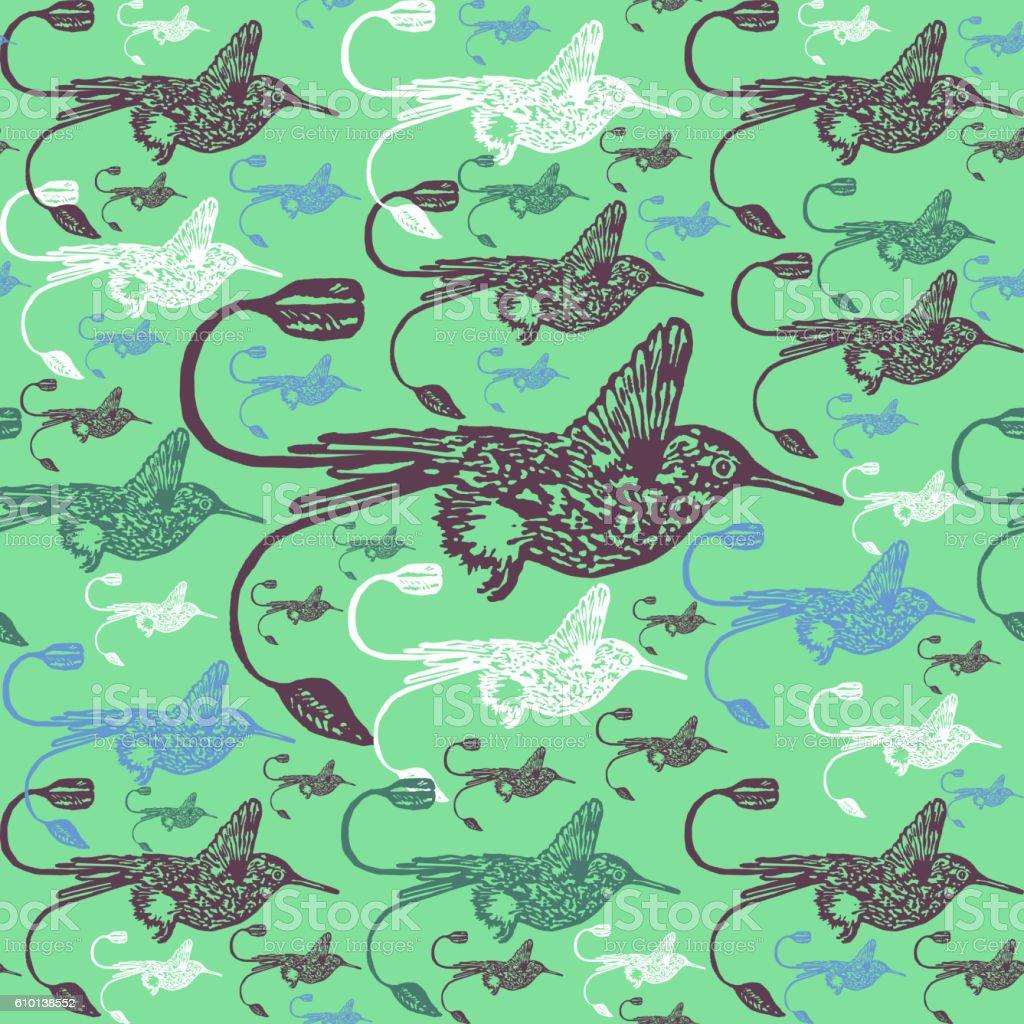 Linocut Hummingbird background vector art illustration