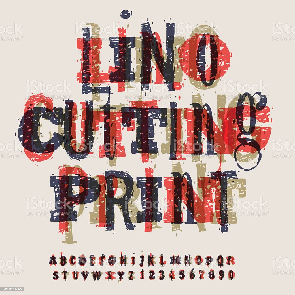 Linocut letters and numbers, alphabet for creating vintage design vector art illustration