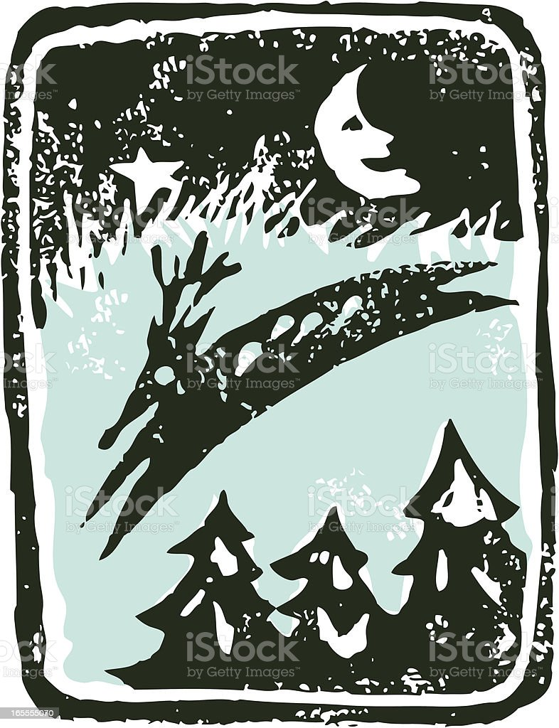 Linocut Reindeer vector art illustration