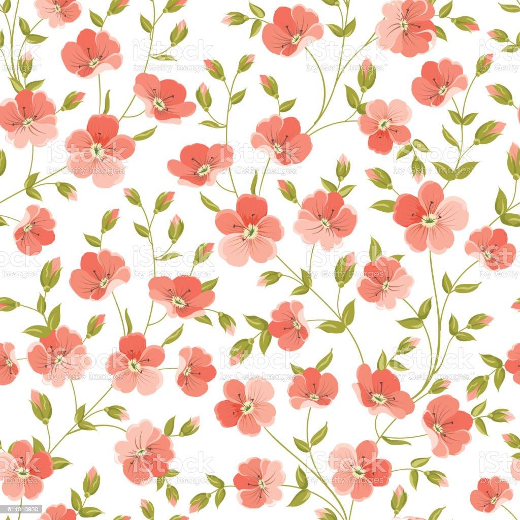 Linum seamless pattern. vector art illustration