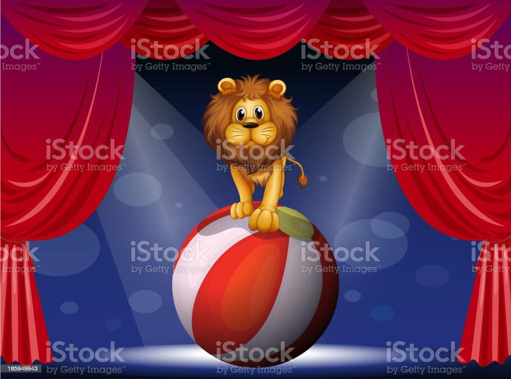 lion above a hot air balloon royalty-free stock vector art