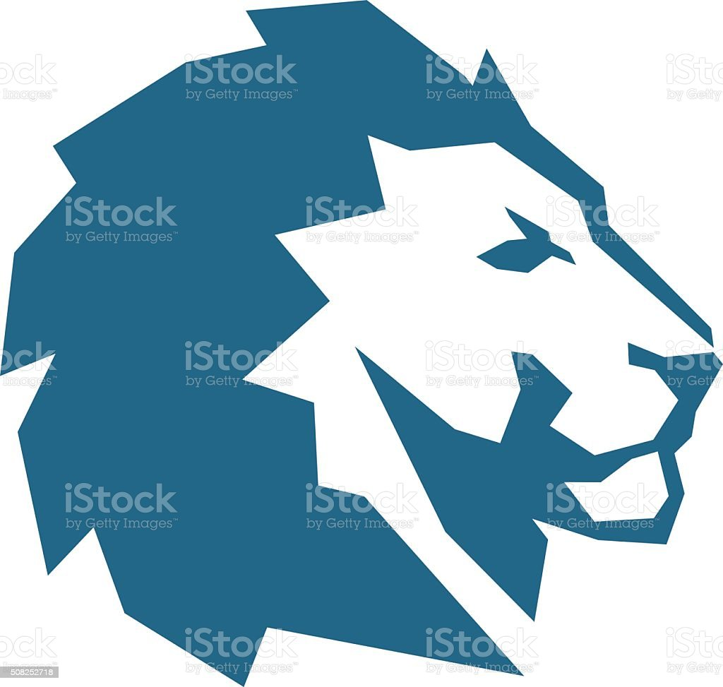 lion abstract blue vector art illustration