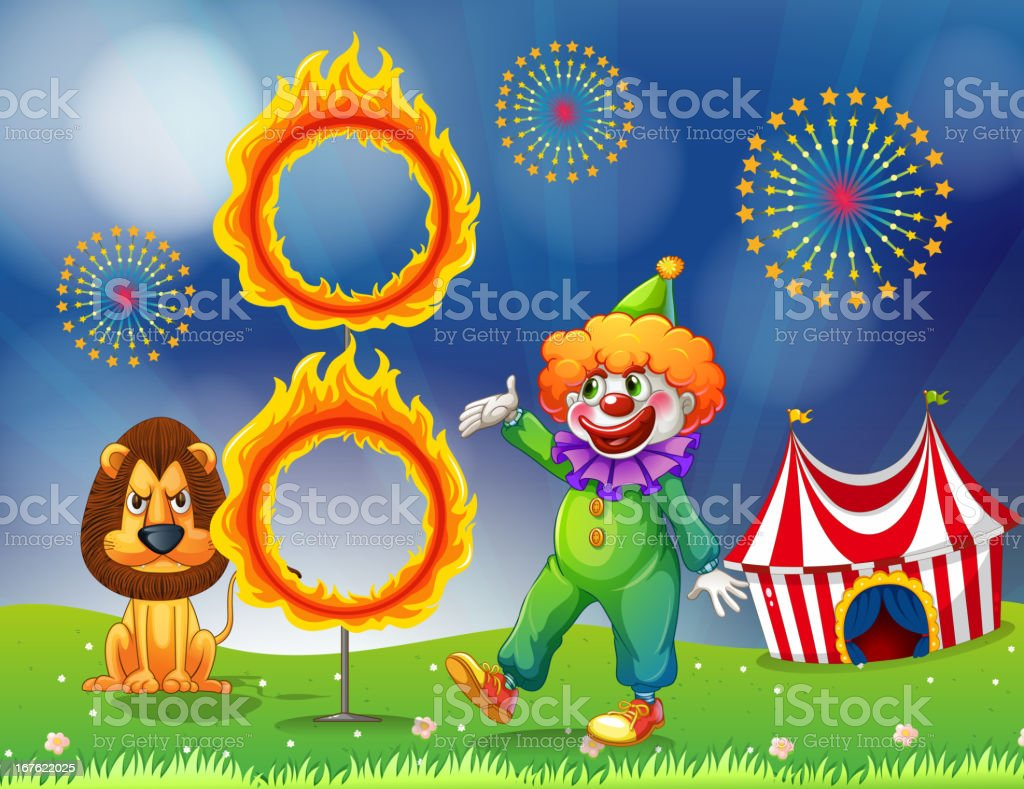 Lion and a clown performing royalty-free stock vector art