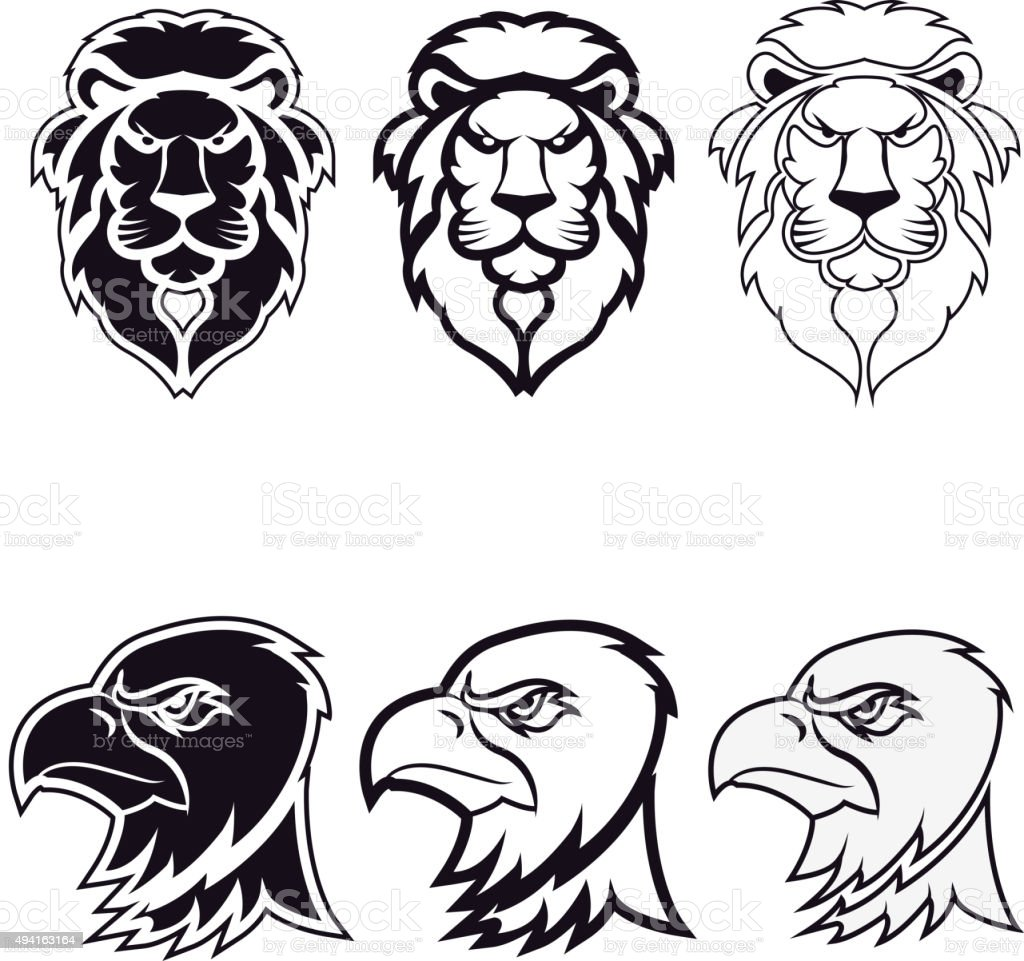 lion and eagle vector art illustration