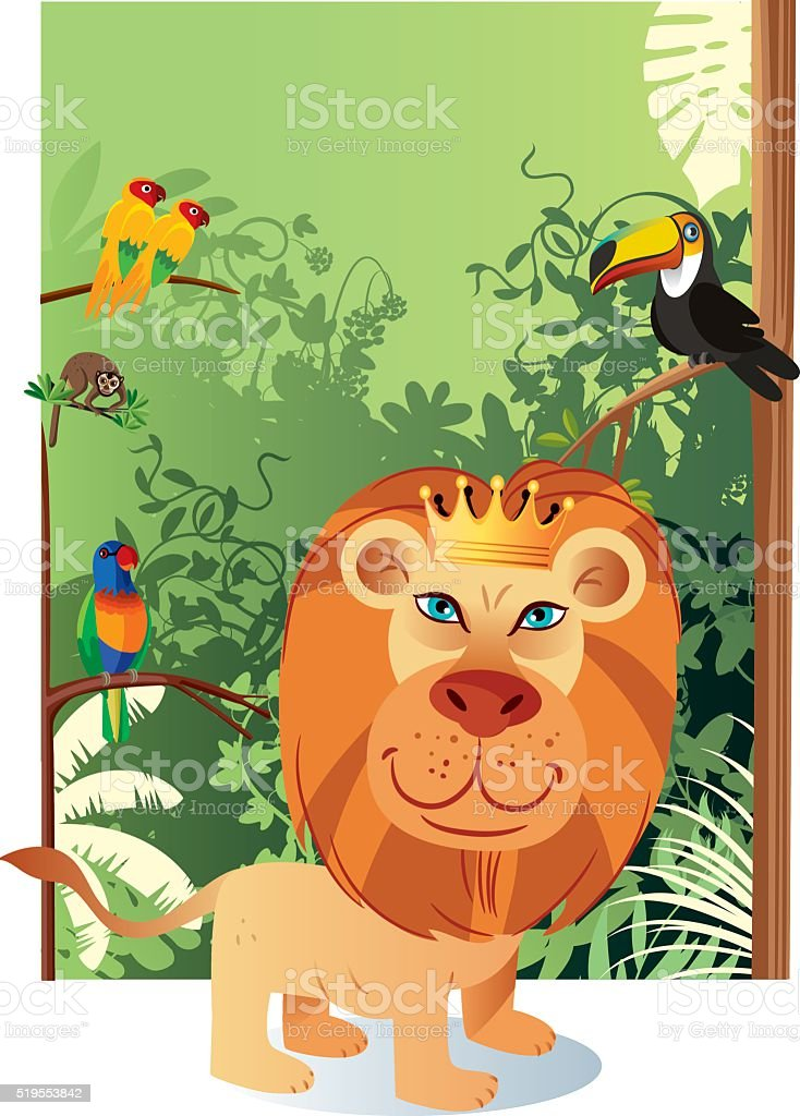 Lion and forest vector art illustration