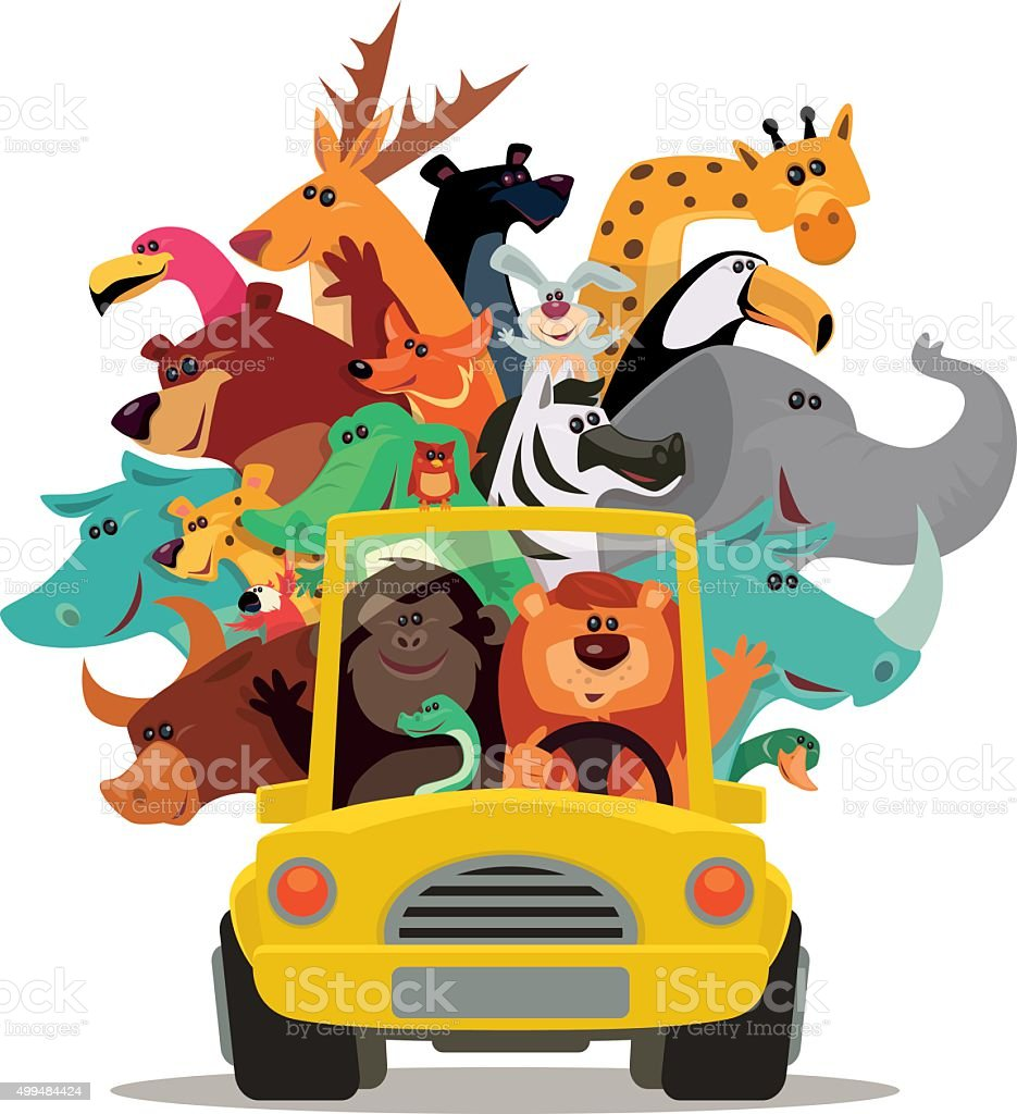lion and friends driving vector art illustration