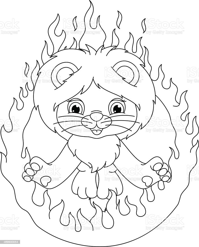 lion and ring of fire coloring page stock vector art 469900054