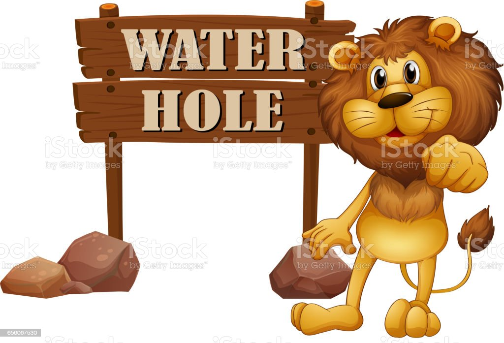 Lion and sign of water hole vector art illustration