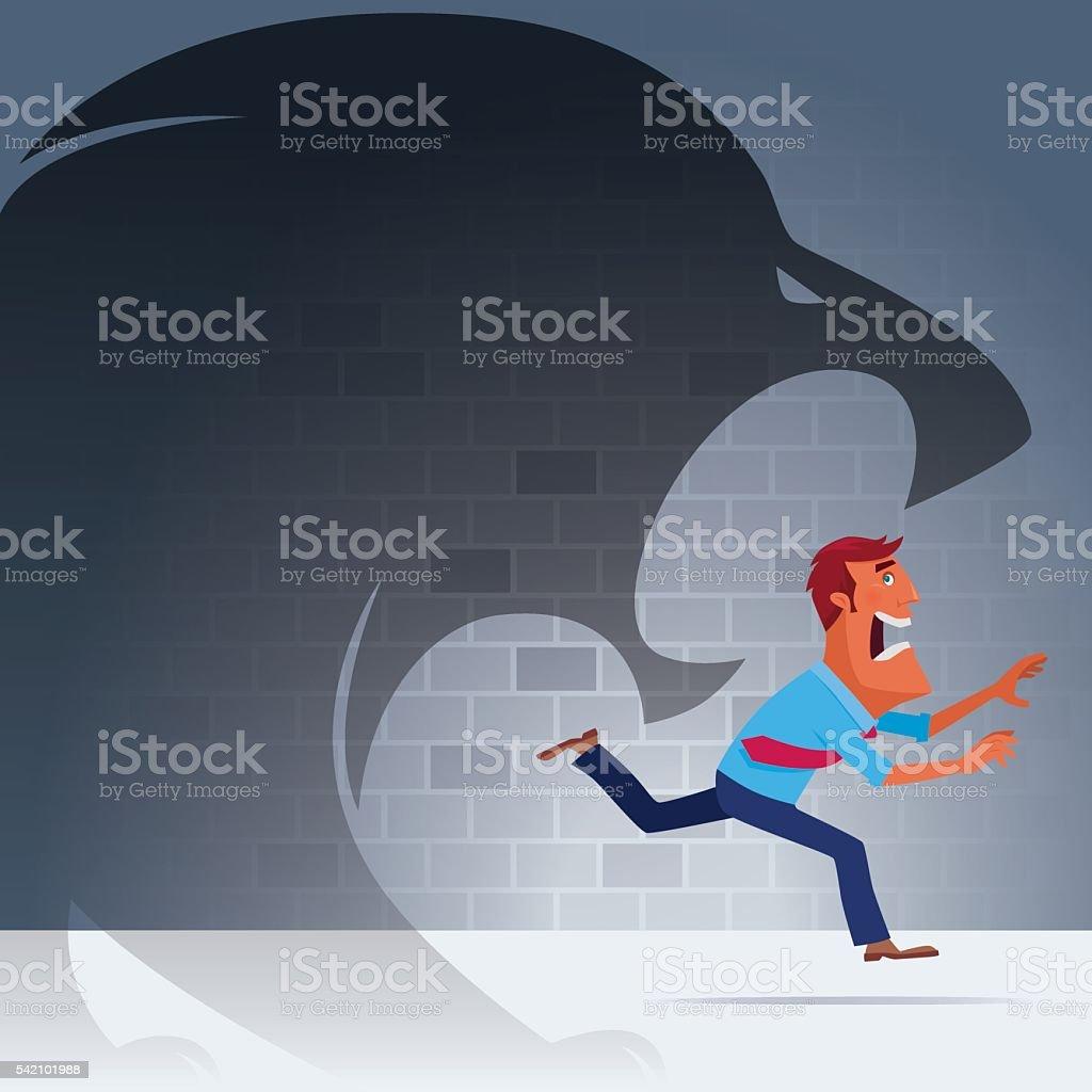lion chasing businessman vector art illustration