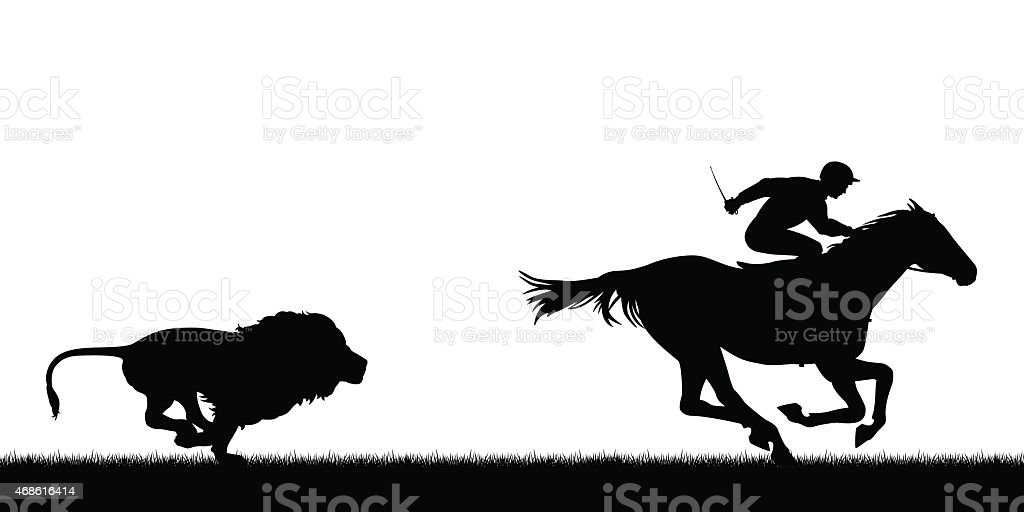 Lion chasing racing horse vector art illustration