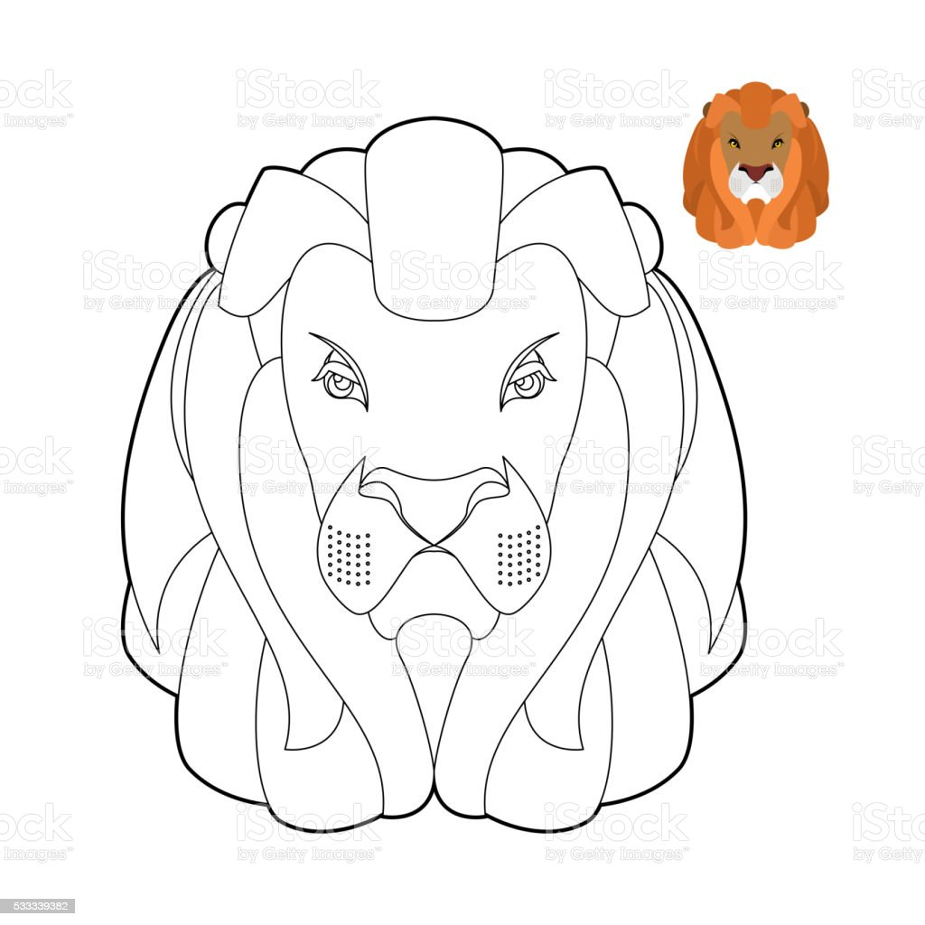 Lion coloring book. Head of predator with shaggy mane. vector art illustration