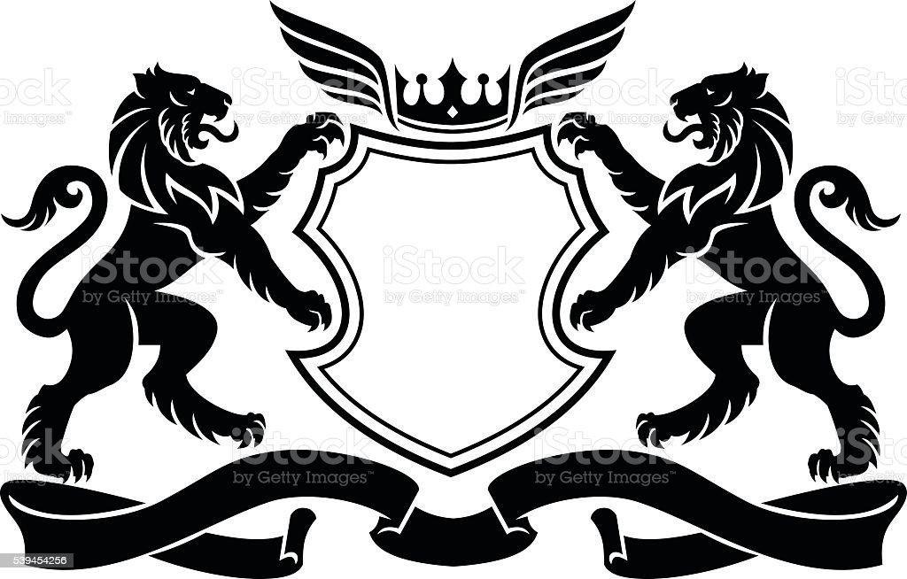 Lion crest vector art illustration
