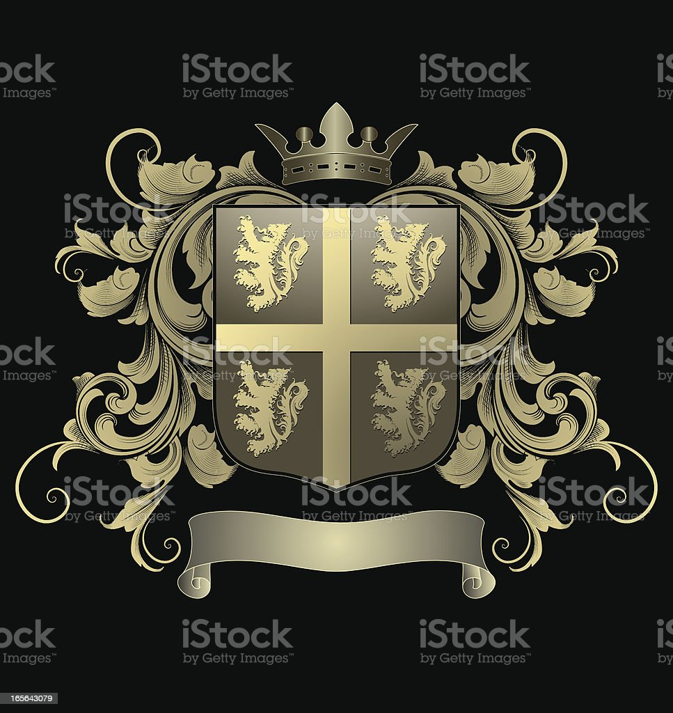 Lion Cross Shield - Coat of Arms royalty-free stock vector art