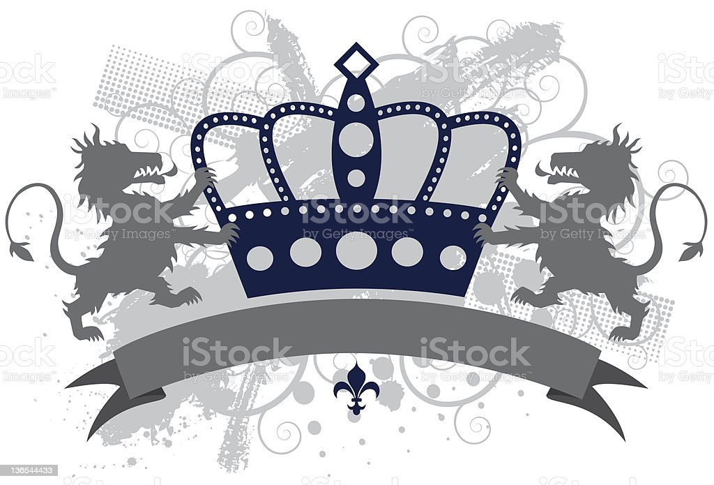 Lion Crown Insignia royalty-free stock vector art