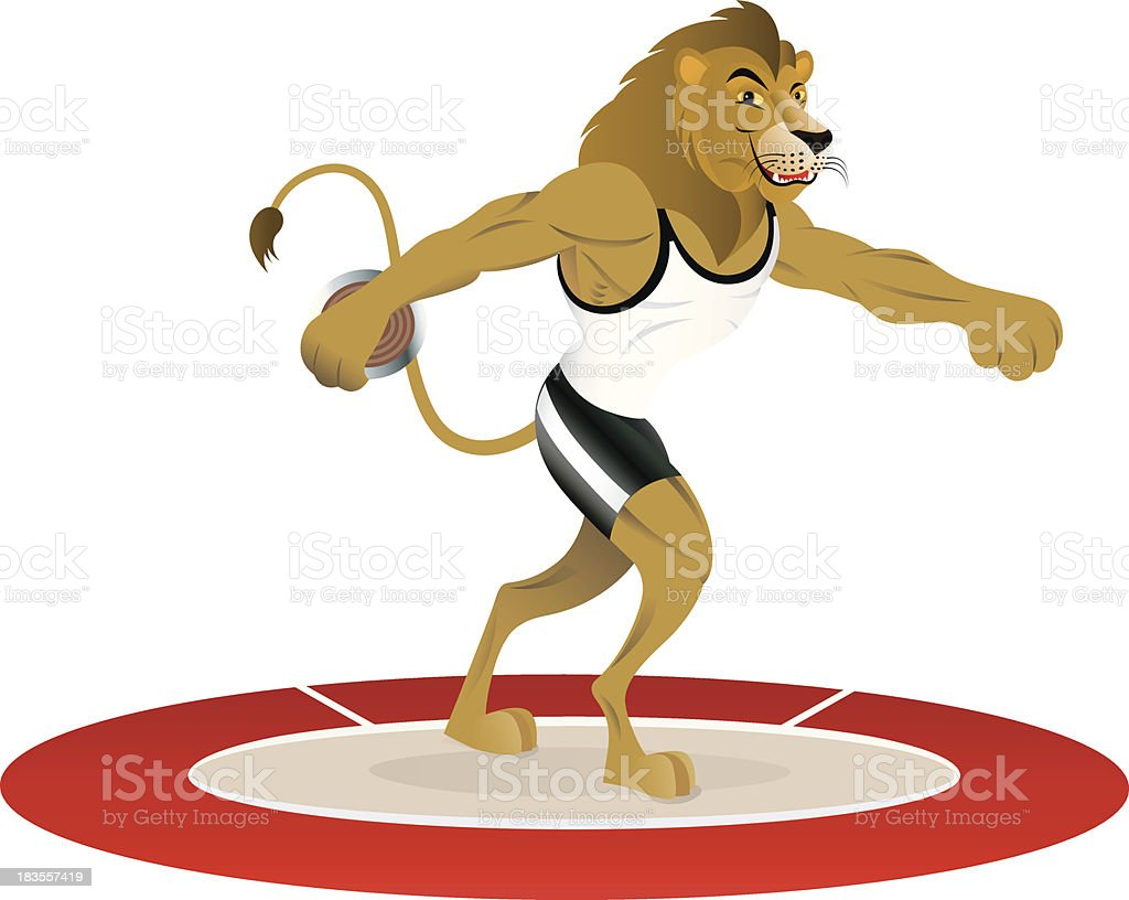 Lion disc thrower athlete royalty-free stock vector art