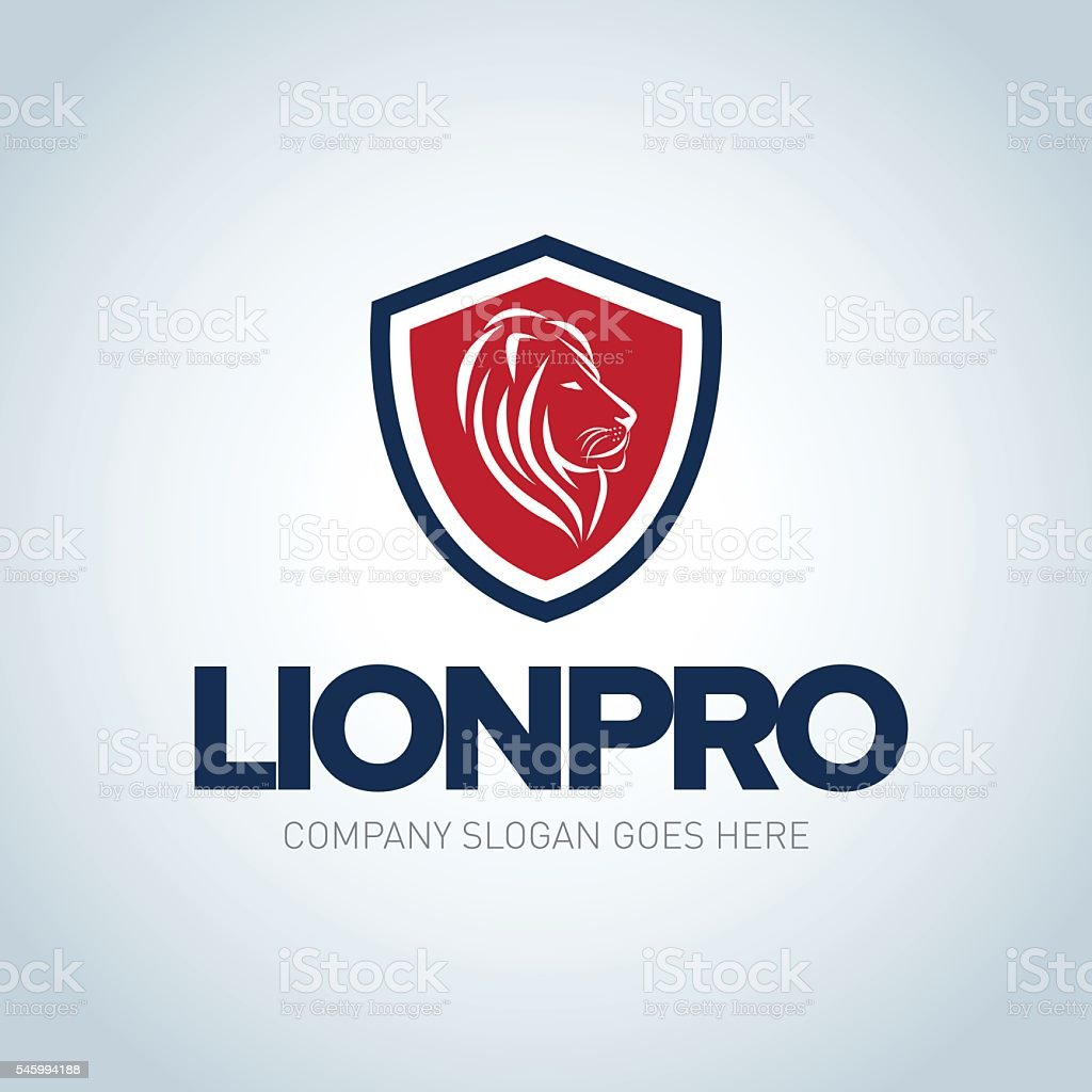 Lion emblem template. Side view Lion head shield emblem vector art illustration
