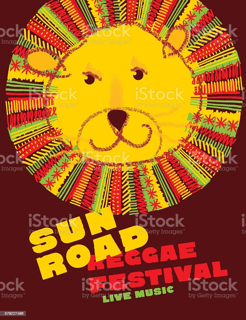 lion face in folk style. classic reggae color music concept vector art illustration