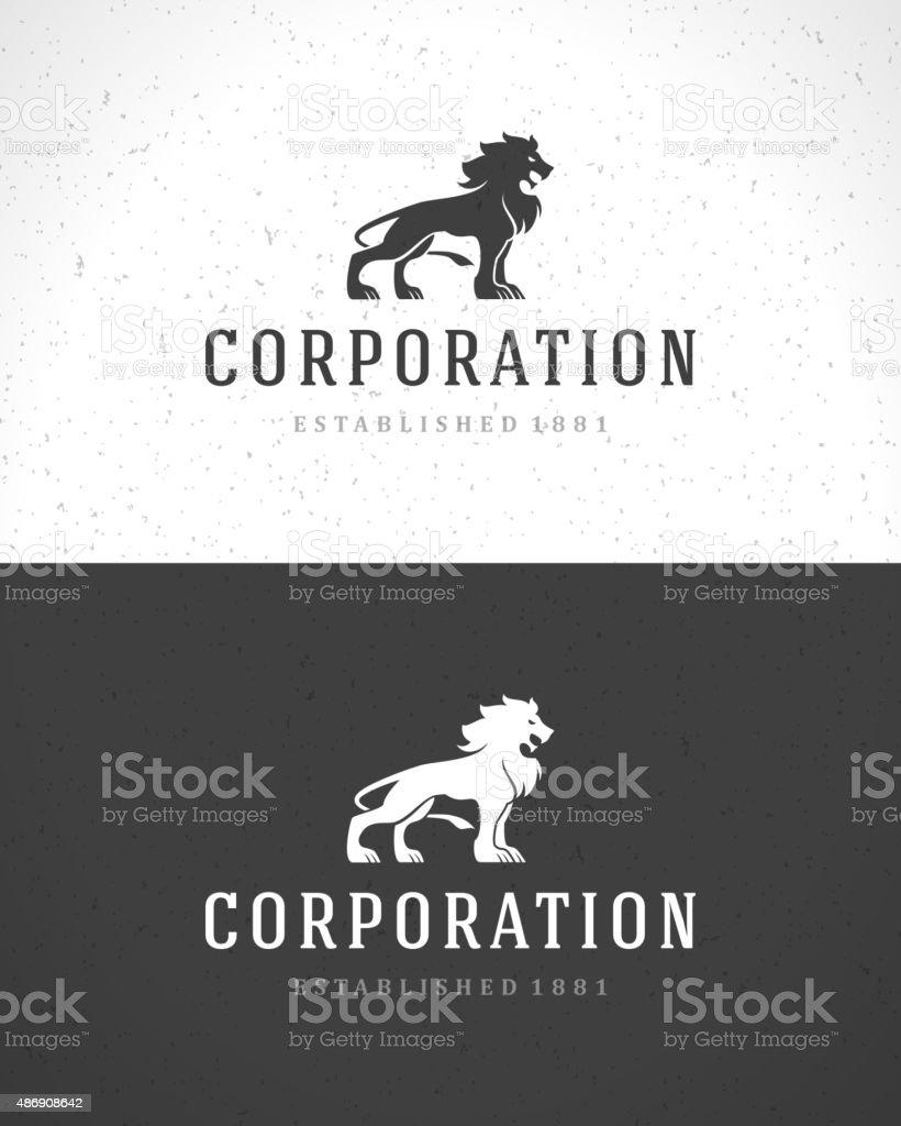 Lion face logo emblem template for business or t-shirt vector art illustration