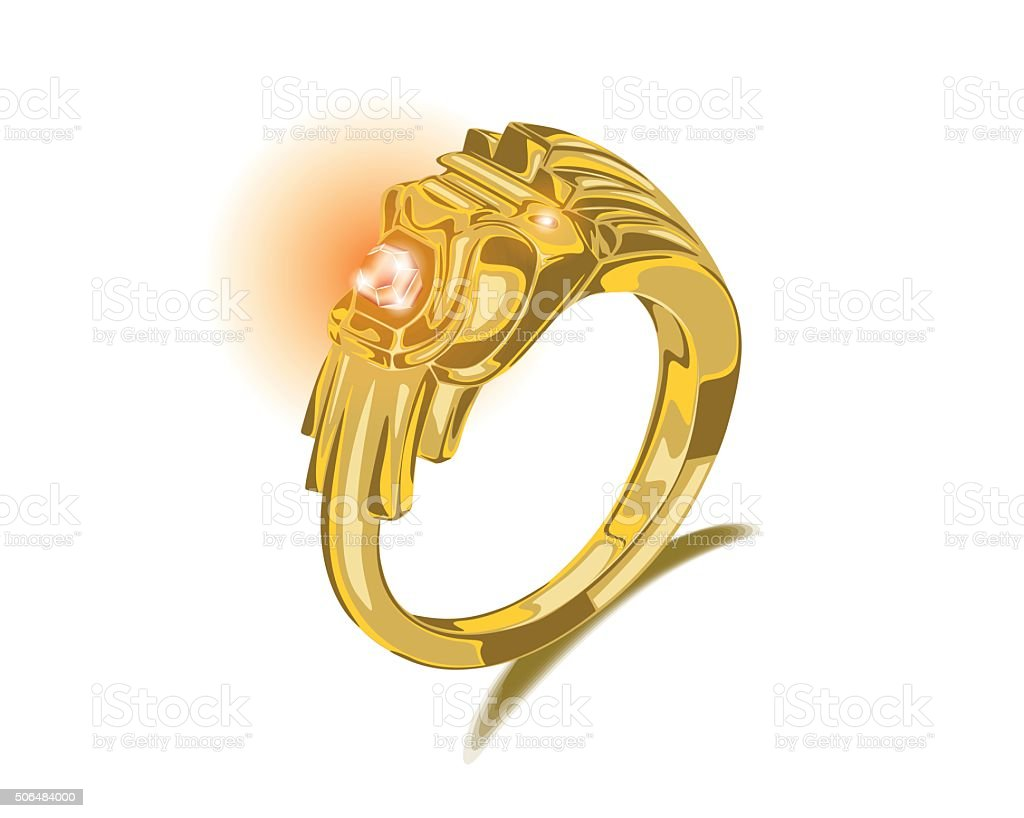 Lion Gold Ring Ruby Gemstone Vector vector art illustration