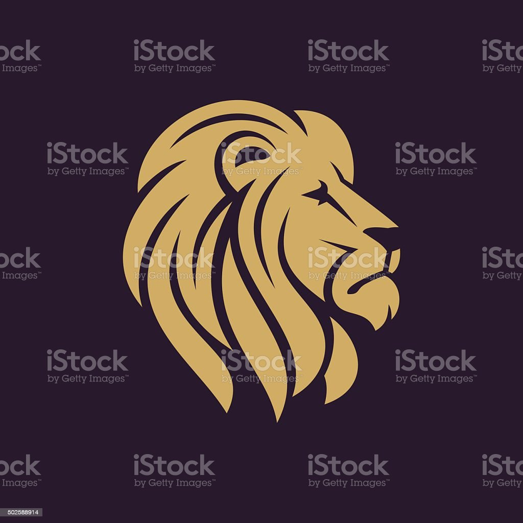 Lion head con in one color. vector art illustration