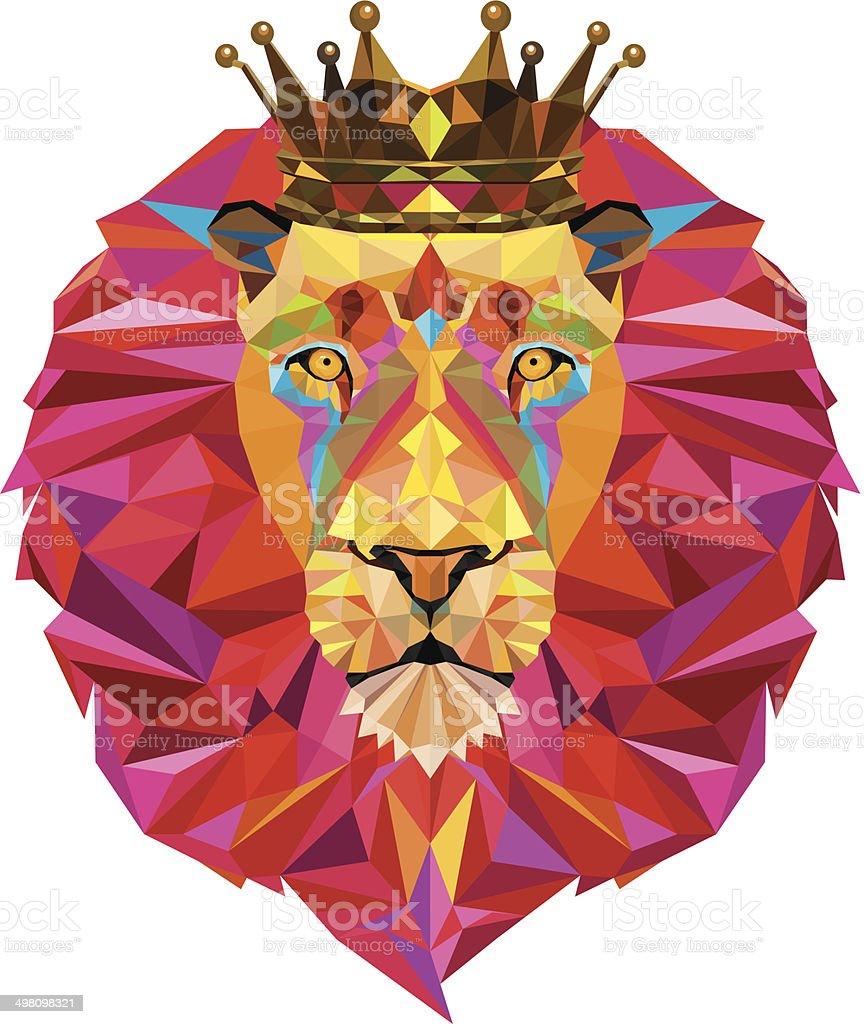 Lion head in geometric pattern vector art illustration