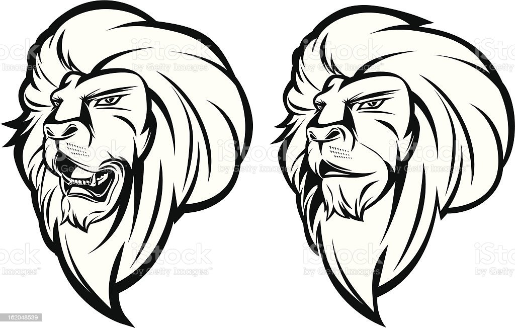 Lion head mascot black and white royalty-free stock vector art