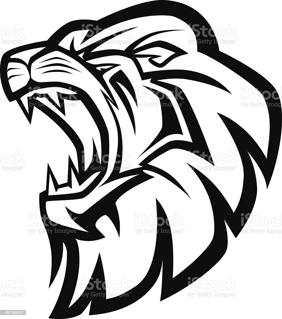 lion head mascot vector art illustration