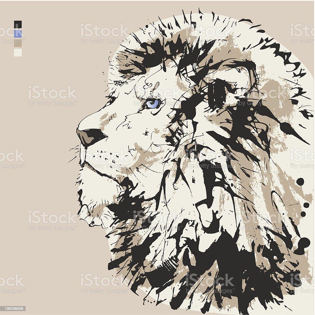 Lion - Head vector art illustration